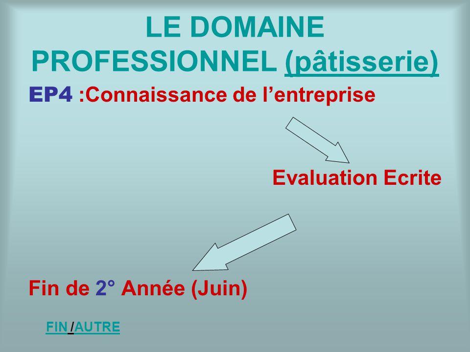 LE DOMAINE PROFESSIONNEL (pâtisserie)(pâtisserie) EP4 :Connaissance de lentreprise Evaluation Ecrite Fin de 2° Année (Juin) FINFIN /AUTREAUTRE