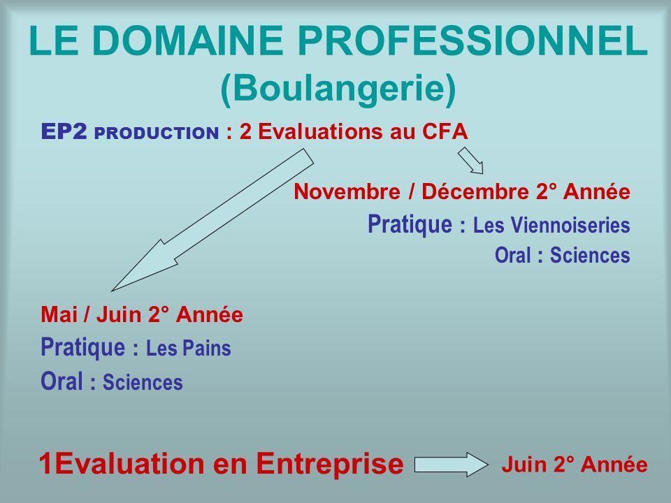 LE DOMAINE PROFESSIONNEL (Boulangerie) EP2 PRODUCTION : 2 Evaluations au CFA Novembre / Décembre 2° Année Pratique : Les Viennoiseries Oral : Sciences