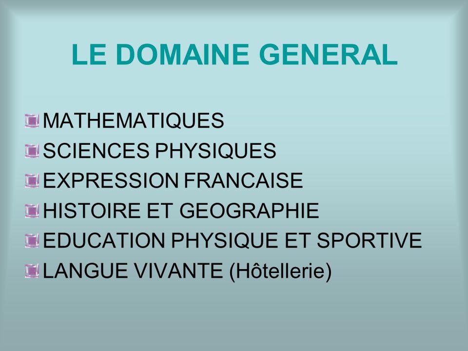 LE DOMAINE GENERAL MATHEMATIQUES SCIENCES PHYSIQUES EXPRESSION FRANCAISE HISTOIRE ET GEOGRAPHIE EDUCATION PHYSIQUE ET SPORTIVE LANGUE VIVANTE (Hôtelle