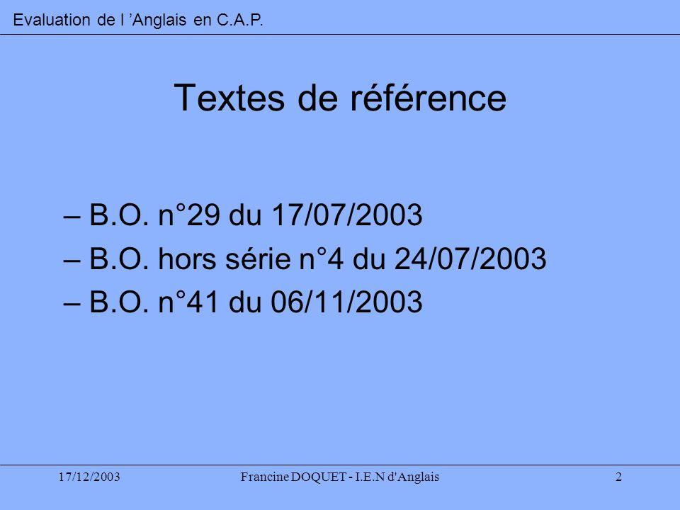 17/12/2003Francine DOQUET - I.E.N d'Anglais2 Textes de référence –B.O. n°29 du 17/07/2003 –B.O. hors série n°4 du 24/07/2003 –B.O. n°41 du 06/11/2003