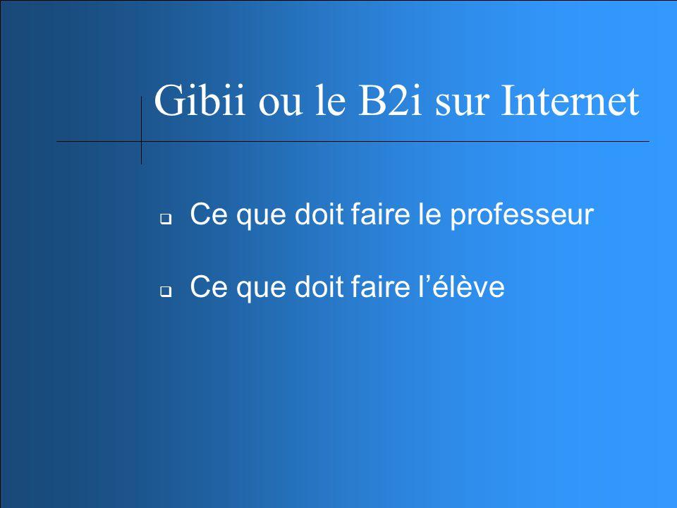 Gibii ou le B2i sur Internet Ce que doit faire le professeur Ce que doit faire lélève