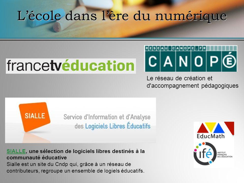 Le réseau de création et d accompagnement pédagogiques Lécole dans lère du numérique SIALLESIALLE, une sélection de logiciels libres destinés à la communauté éducative Sialle est un site du Cndp qui, grâce à un réseau de contributeurs, regroupe un ensemble de logiels éducatifs.