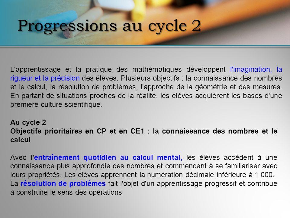 Progressions au cycle 2 L'apprentissage et la pratique des mathématiques développent l'imagination, la rigueur et la précision des élèves. Plusieurs o
