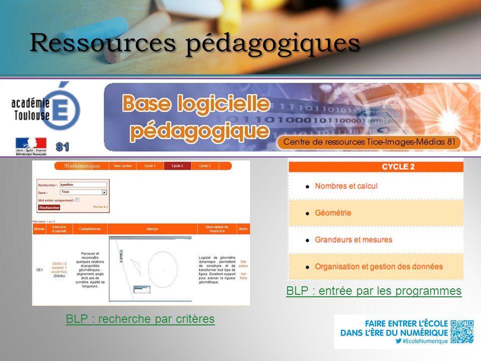 Ressources pédagogiques BLP : entrée par les programmes BLP : recherche par critères