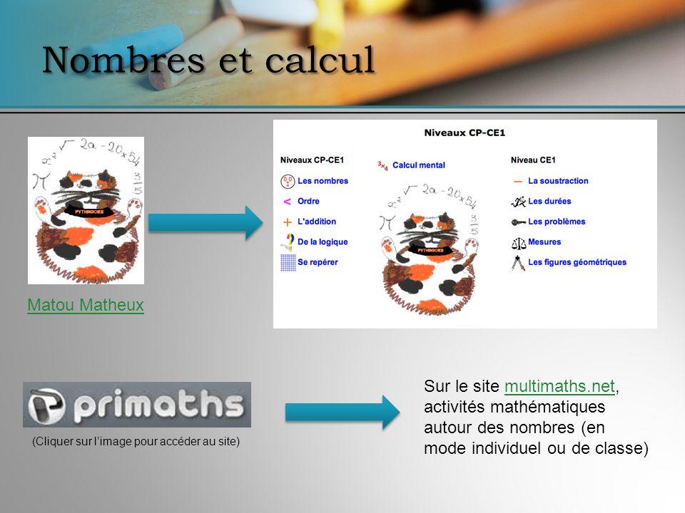 Nombres et calcul Matou Matheux Sur le site multimaths.net, activités mathématiques autour des nombres (en mode individuel ou de classe)multimaths.net (Cliquer sur limage pour accéder au site)