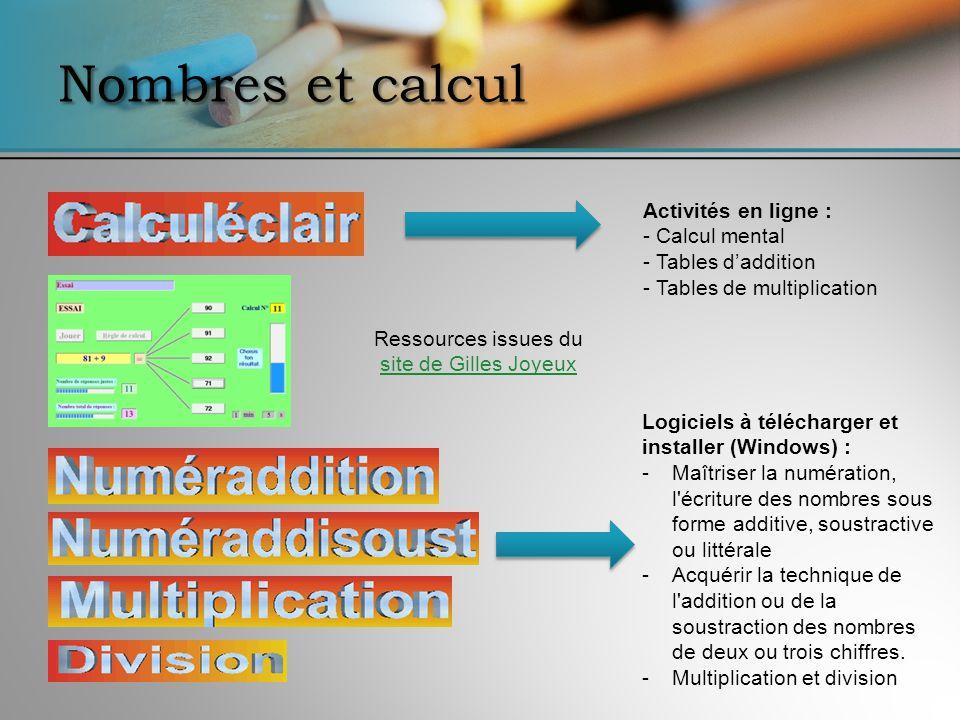 Nombres et calcul Activités en ligne : - Calcul mental - Tables daddition - Tables de multiplication Logiciels à télécharger et installer (Windows) :