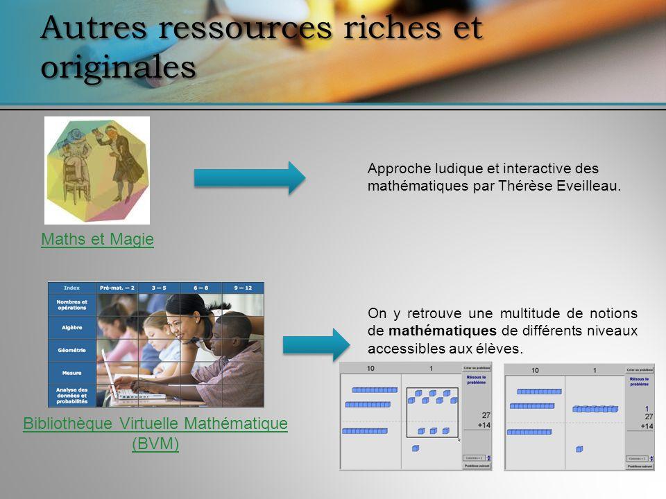Bibliothèque Virtuelle Mathématique (BVM) On y retrouve une multitude de notions de mathématiques de différents niveaux accessibles aux élèves. Autres
