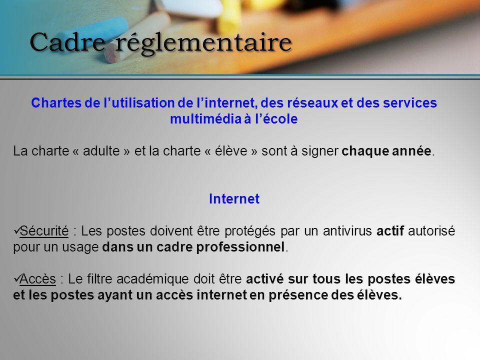 Cadre réglementaire Chartes de lutilisation de linternet, des réseaux et des services multimédia à lécole La charte « adulte » et la charte « élève »