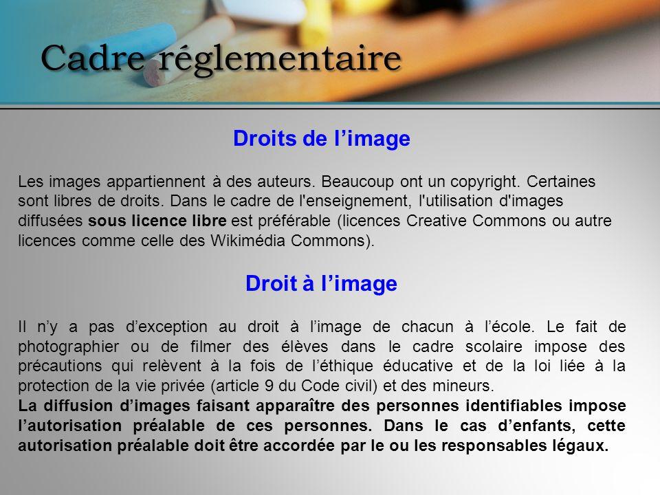 Cadre réglementaire Droits de limage Les images appartiennent à des auteurs. Beaucoup ont un copyright. Certaines sont libres de droits. Dans le cadre