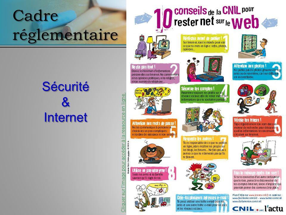 Cadre réglementaire Sécurité&Internet Cliquer sur limage pour accéder à la ressource en ligne.