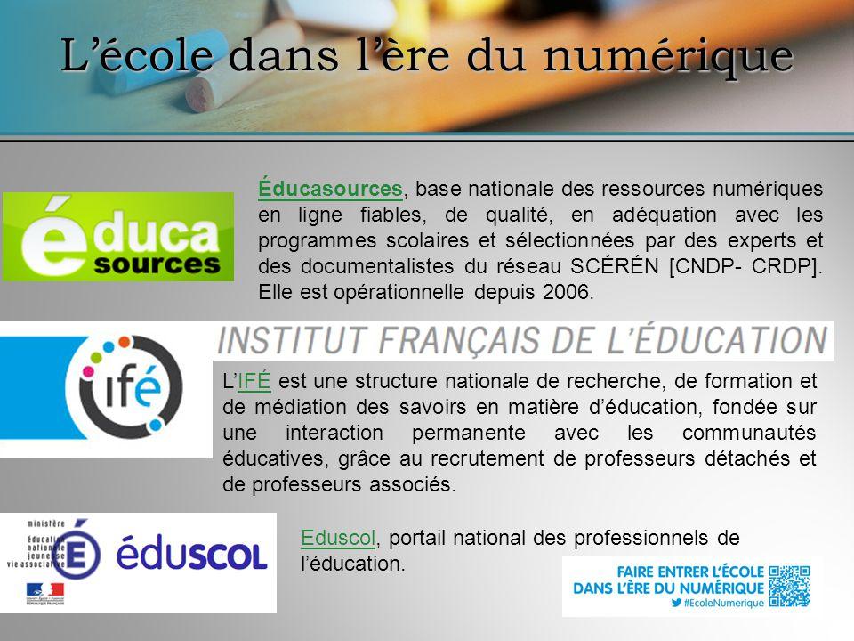 ÉducasourcesÉducasources, base nationale des ressources numériques en ligne fiables, de qualité, en adéquation avec les programmes scolaires et sélect