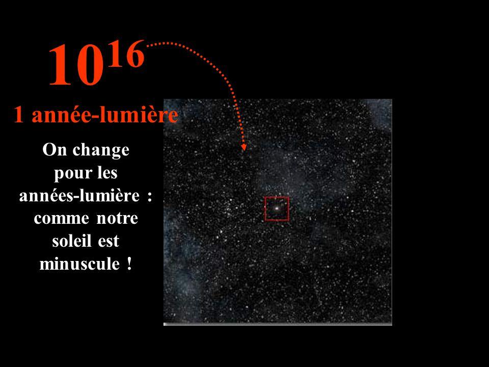 On change pour les années-lumière : comme notre soleil est minuscule ! 10 16 1 année-lumière