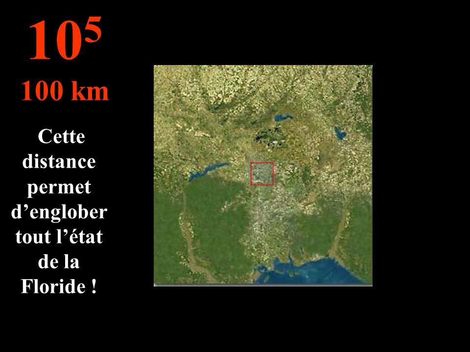 Cette distance permet denglober tout létat de la Floride ! 10 5 100 km