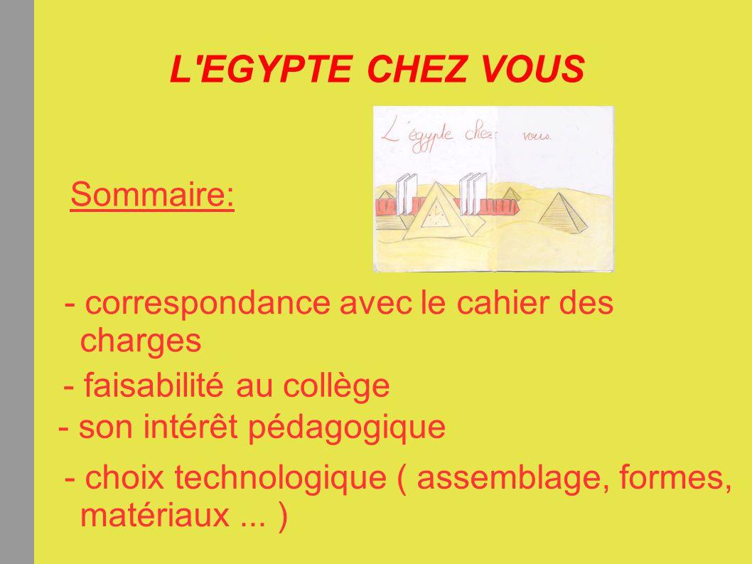 L'EGYPTE CHEZ VOUS Sommaire: - correspondance avec le cahier des charges - faisabilité au collège - son intérêt pédagogique - choix technologique ( as