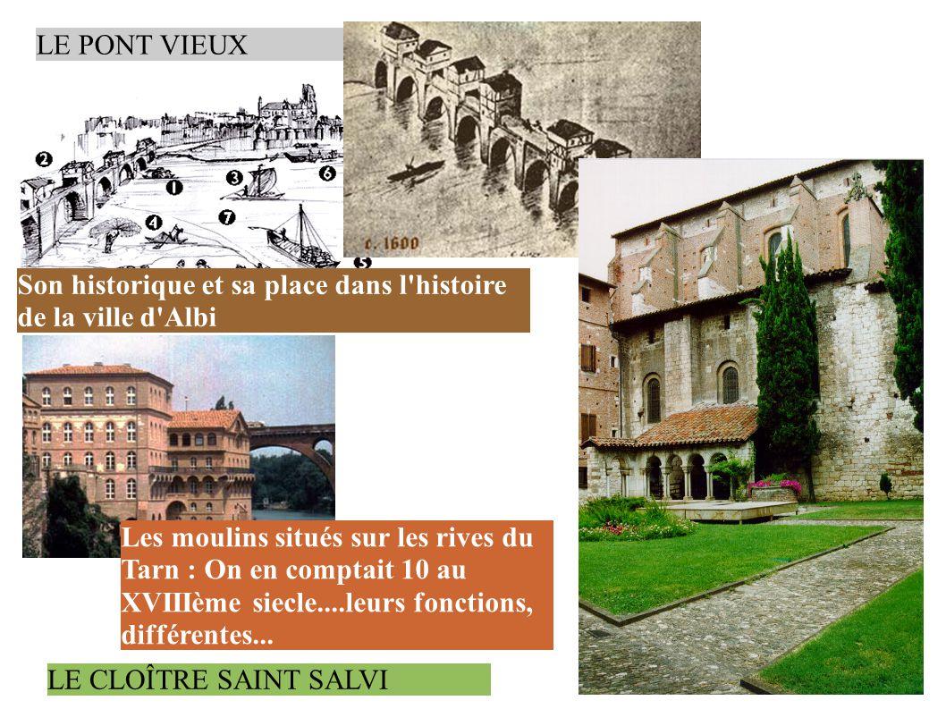 LE PONT VIEUX Son historique et sa place dans l histoire de la ville d Albi Les moulins situés sur les rives du Tarn : On en comptait 10 au XVIIIème siecle....leurs fonctions, différentes...
