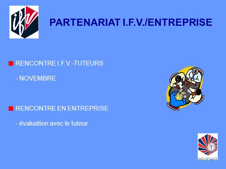RENCONTRE I.F.V.-TUTEURS - NOVEMBRE RENCONTRE EN ENTREPRISE - évaluation avec le tuteur PARTENARIAT I.F.V./ENTREPRISE