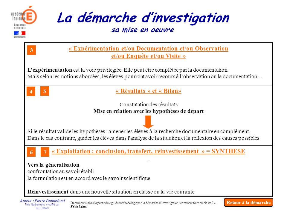 Auteur : Pierre Bonnefond Très légèrement modifié par B.DUMAS « Expérimentation et/ou Documentation et/ou Observation et/ou Enquête et/ou Visite » Lex