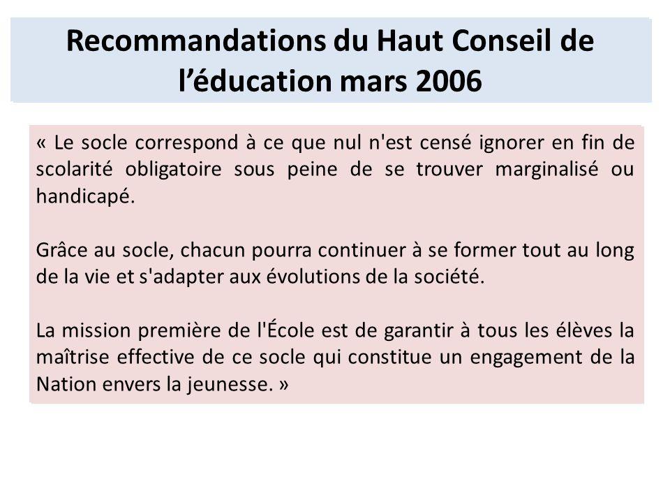 Recommandations du Haut Conseil de léducation mars 2006 « Le socle correspond à ce que nul n'est censé ignorer en fin de scolarité obligatoire sous pe