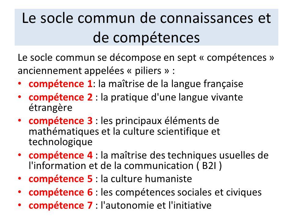 Le socle commun de connaissances et de compétences Le socle commun se décompose en sept « compétences » anciennement appelées « piliers » : compétence