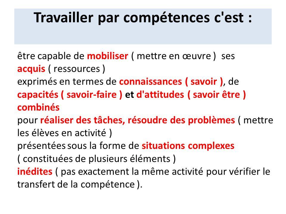 Travailler par compétences c'est : être capable de mobiliser ( mettre en œuvre ) ses acquis ( ressources ) exprimés en termes de connaissances ( savoi
