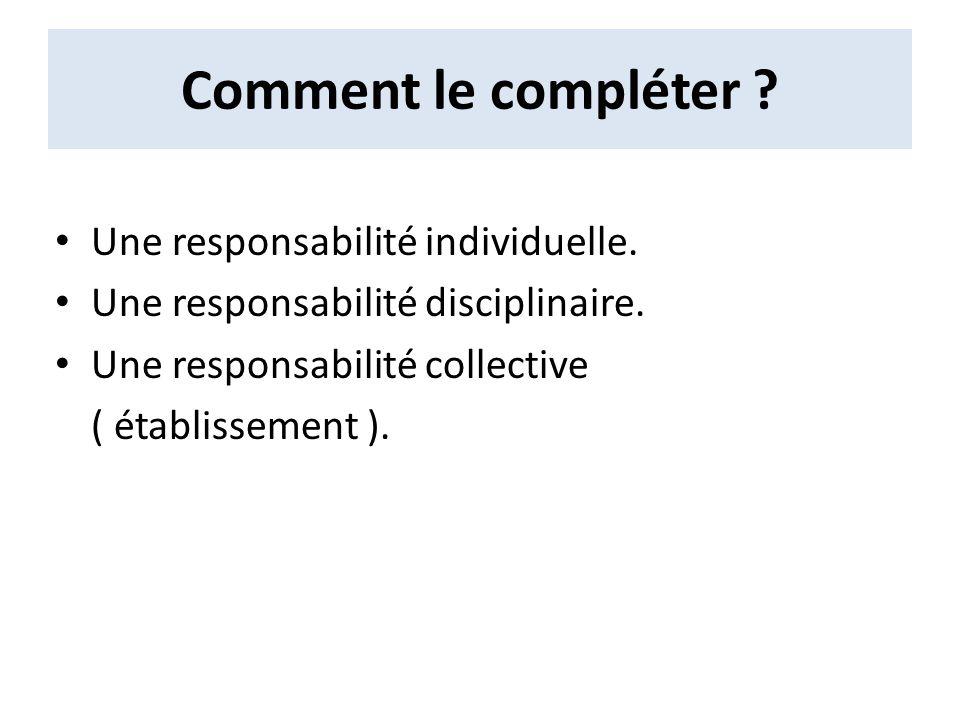 Comment le compléter ? Une responsabilité individuelle. Une responsabilité disciplinaire. Une responsabilité collective ( établissement ).