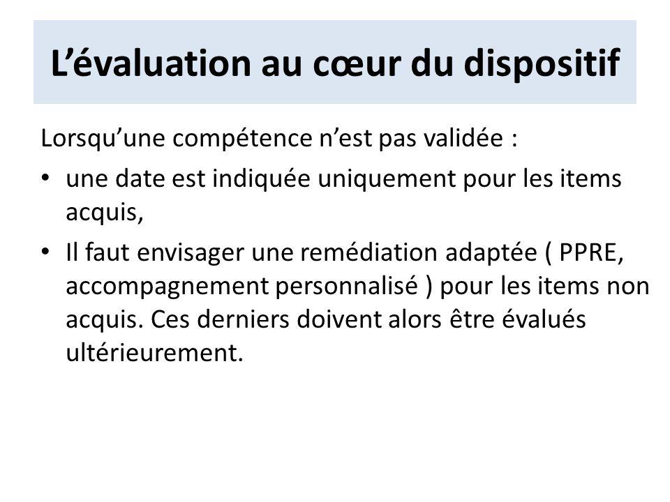 Lévaluation au cœur du dispositif Lorsquune compétence nest pas validée : une date est indiquée uniquement pour les items acquis, Il faut envisager un