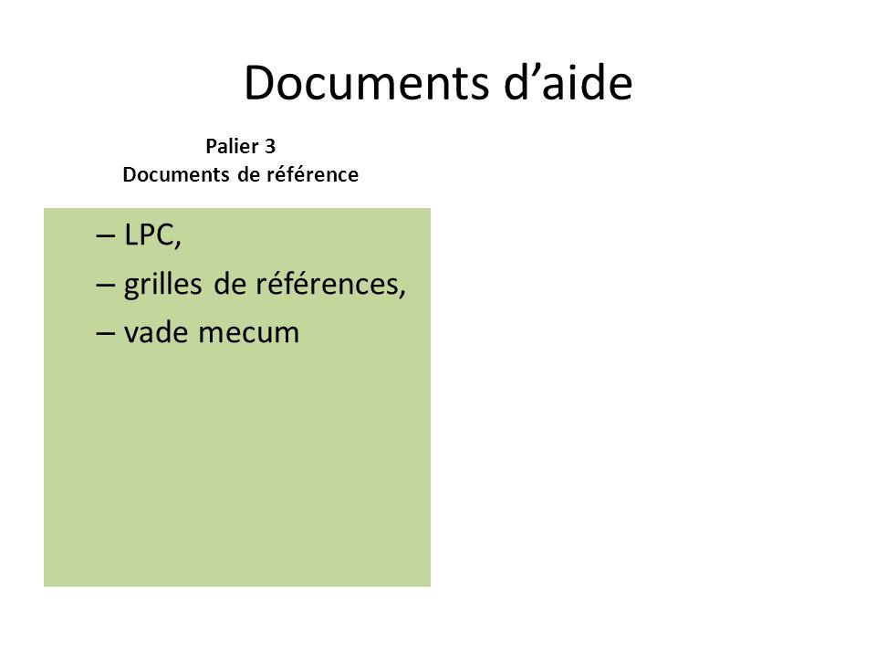 Documents daide Palier 3 Documents de référence – LPC, – grilles de références, – vade mecum