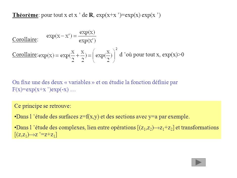 Théorème: pour tout x et x de R, exp(x+x )=exp(x) exp(x ) Corollaire: Corollaire: d où pour tout x, exp(x)>0 On fixe une des deux « variables » et on