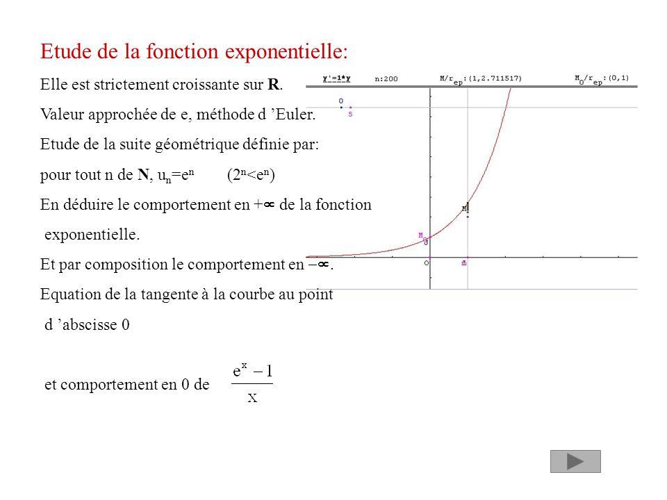 Etude de la fonction exponentielle: Elle est strictement croissante sur R. Valeur approchée de e, méthode d Euler. Etude de la suite géométrique défin