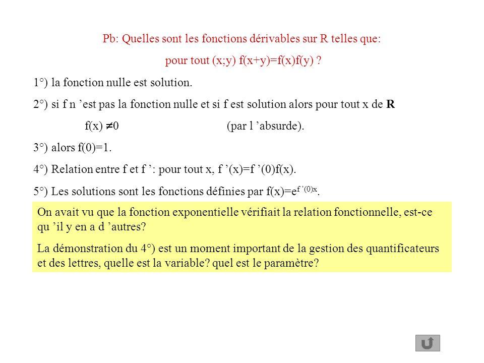 Pb: Quelles sont les fonctions dérivables sur R telles que: pour tout (x;y) f(x+y)=f(x)f(y) ? 1°) la fonction nulle est solution. 2°) si f n est pas l