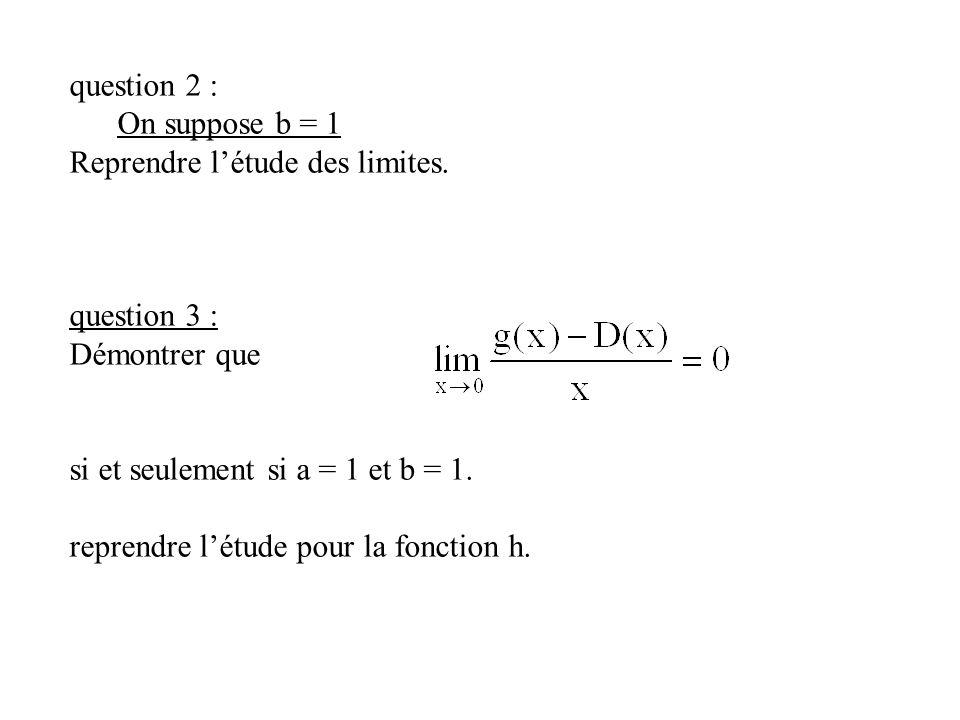 question 2 : On suppose b = 1 Reprendre létude des limites. question 3 : Démontrer que si et seulement si a = 1 et b = 1. reprendre létude pour la fon