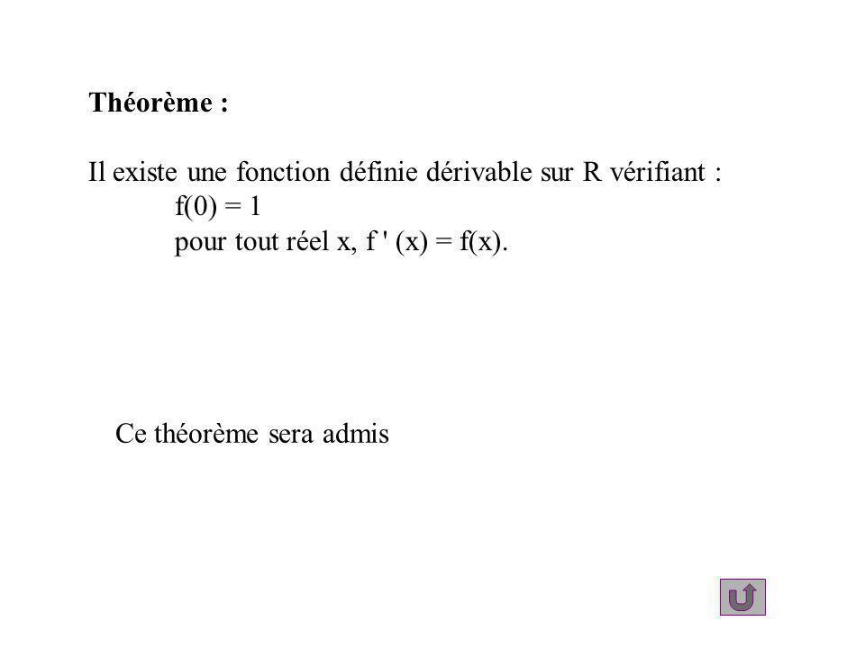 Théorème : Il existe une fonction définie dérivable sur R vérifiant : f(0) = 1 pour tout réel x, f ' (x) = f(x). Ce théorème sera admis