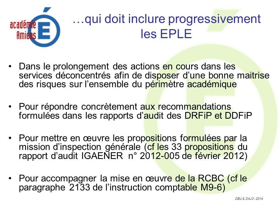 DBU & DAJ3 - 2014 …qui doit inclure progressivement les EPLE Dans le prolongement des actions en cours dans les services déconcentrés afin de disposer dune bonne maitrise des risques sur lensemble du périmètre académique Pour répondre concrètement aux recommandations formulées dans les rapports daudit des DRFiP et DDFiP Pour mettre en œuvre les propositions formulées par la mission dinspection générale (cf les 33 propositions du rapport daudit IGAENER n° 2012-005 de février 2012) Pour accompagner la mise en œuvre de la RCBC (cf le paragraphe 2133 de linstruction comptable M9-6)