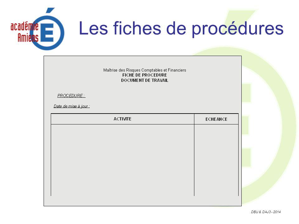 DBU & DAJ3 - 2014 Les fiches de procédures