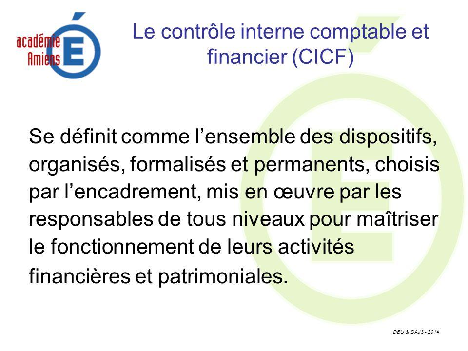 DBU & DAJ3 - 2014 Le contrôle interne comptable et financier (CICF) Se définit comme lensemble des dispositifs, organisés, formalisés et permanents, choisis par lencadrement, mis en œuvre par les responsables de tous niveaux pour maîtriser le fonctionnement de leurs activités financières et patrimoniales.