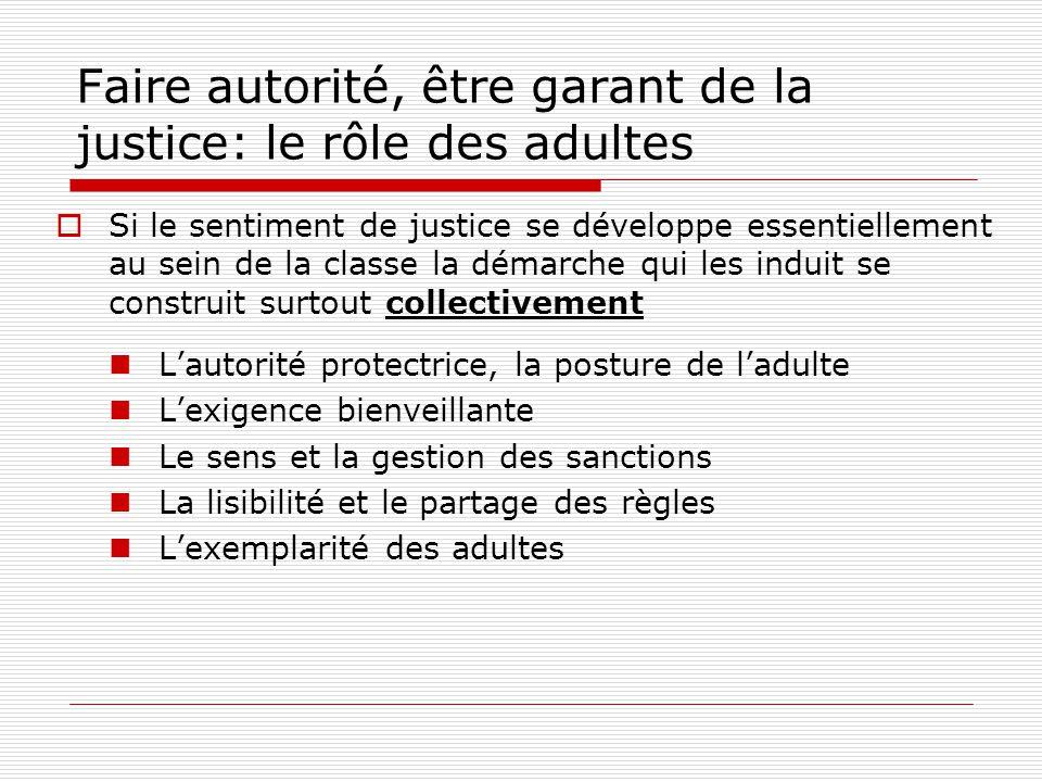 Faire autorité, être garant de la justice: le rôle des adultes Si le sentiment de justice se développe essentiellement au sein de la classe la démarch