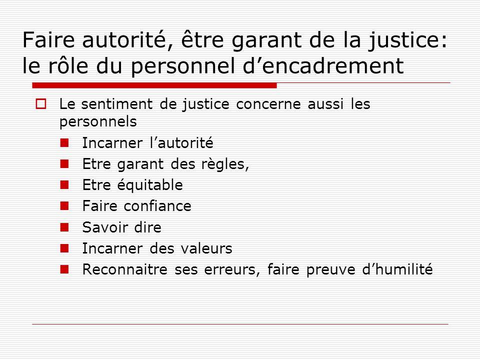 Faire autorité, être garant de la justice: le rôle du personnel dencadrement Le sentiment de justice concerne aussi les personnels Incarner lautorité