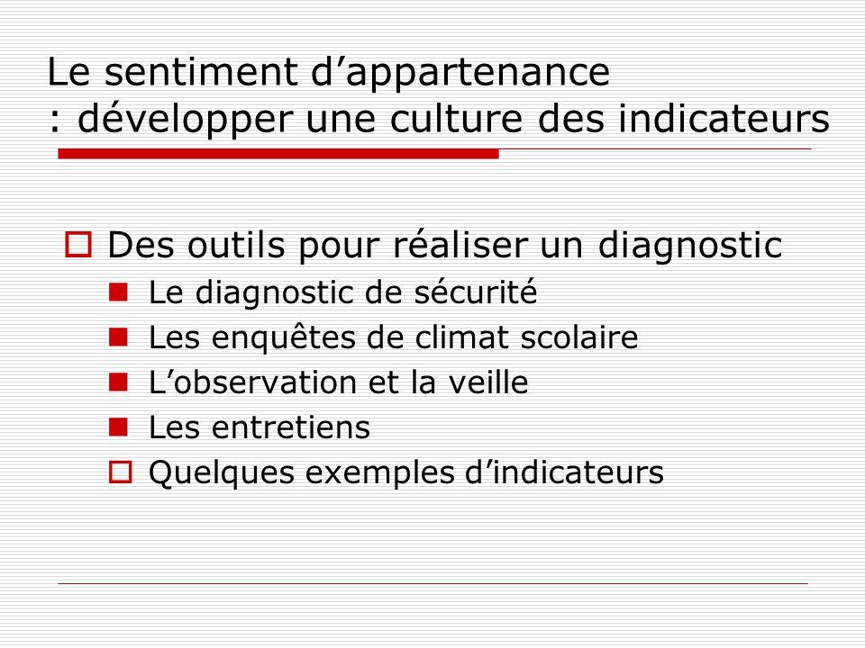 Le sentiment dappartenance : développer une culture des indicateurs Des outils pour réaliser un diagnostic Le diagnostic de sécurité Les enquêtes de c