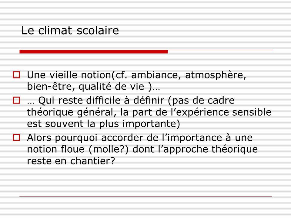 Le climat scolaire Une vieille notion(cf. ambiance, atmosphère, bien-être, qualité de vie )… … Qui reste difficile à définir (pas de cadre théorique g