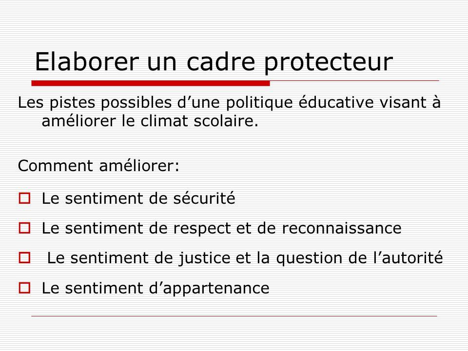 Elaborer un cadre protecteur Les pistes possibles dune politique éducative visant à améliorer le climat scolaire. Comment améliorer: Le sentiment de s