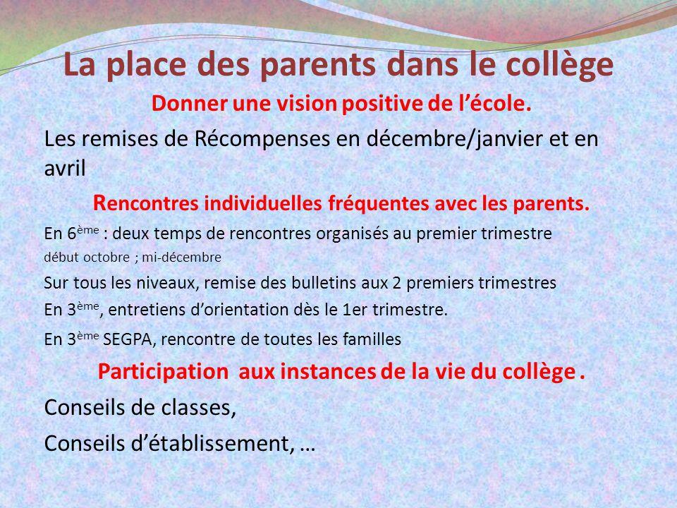 La place des parents dans le collège Donner une vision positive de lécole. Les remises de Récompenses en décembre/janvier et en avril R encontres indi