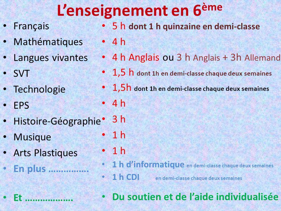 Lenseignement en 6 ème Français Mathématiques Langues vivantes SVT Technologie EPS Histoire-Géographie Musique Arts Plastiques En plus ……………. Et ……………