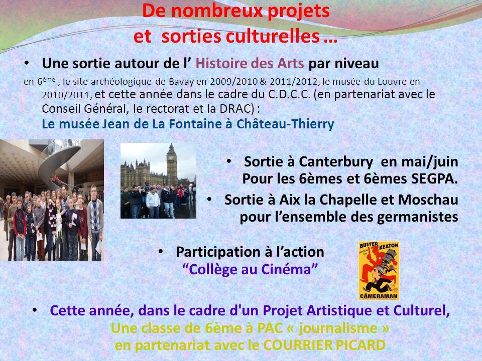 De nombreux projets et sorties culturelles … Une sortie autour de l Histoire des Arts par niveau en 6 ème, le site archéologique de Bavay en 2009/2010 & 2011/2012, le musée du Louvre en 2010/2011, et cette année dans le cadre du C.D.C.C.