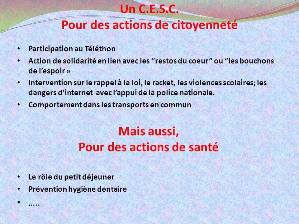 Un C.E.S.C. Pour des actions de citoyenneté Participation au Téléthon Action de solidarité en lien avec les restos du coeur ou les bouchons de lespoir