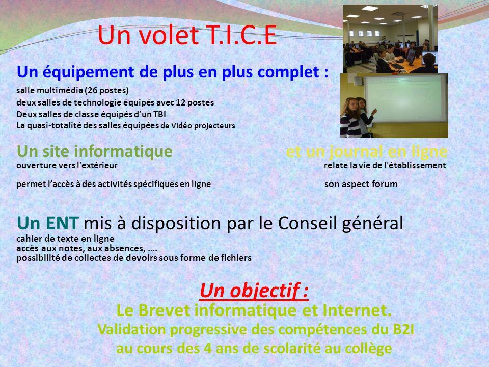 Un volet T.I.C.E Un équipement de plus en plus complet : salle multimédia (26 postes) deux salles de technologie équipés avec 12 postes Deux salles de