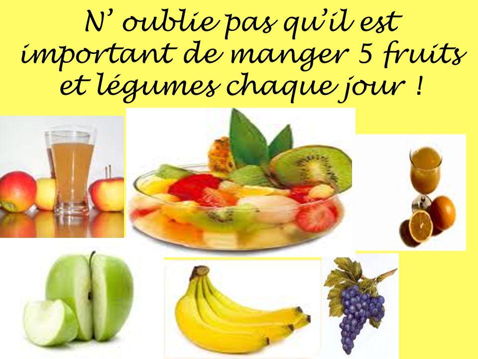 N oublie pas quil est important de manger 5 fruits et légumes chaque jour !