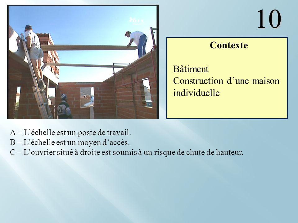 10 A – Léchelle est un poste de travail. B – Léchelle est un moyen daccès. C – Louvrier situé à droite est soumis à un risque de chute de hauteur. Con