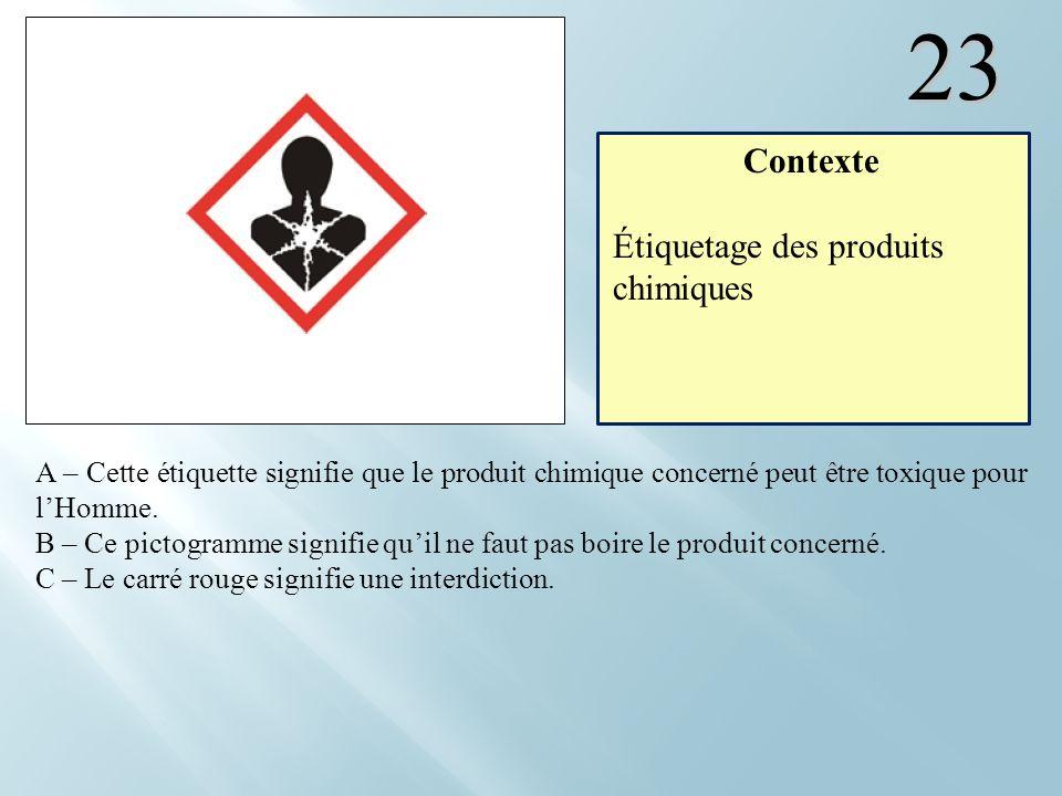 23 A – Cette étiquette signifie que le produit chimique concerné peut être toxique pour lHomme. B – Ce pictogramme signifie quil ne faut pas boire le