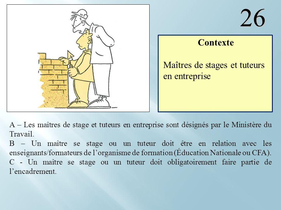26 A – Les maîtres de stage et tuteurs en entreprise sont désignés par le Ministère du Travail. B – Un maître se stage ou un tuteur doit être en relat