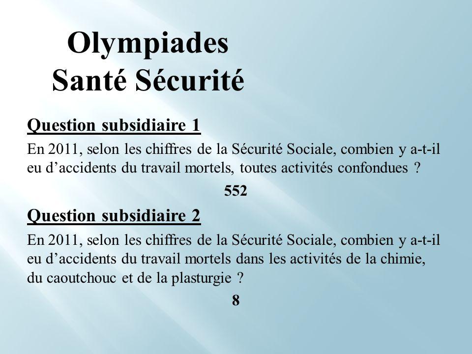 Question subsidiaire 1 En 2011, selon les chiffres de la Sécurité Sociale, combien y a-t-il eu daccidents du travail mortels, toutes activités confond